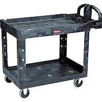 Rubbermaid Commercial Products - Carro de servicio /utilidad de 2 estantes, mediano, estantes con borde, mango ergonómico, 500 lb Capacidad, para almacén /garaje /limpieza /fabricación (FG452088BLA)