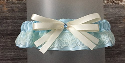 Vintage Ivory Lace & Light Blue Satin Rhinestone Embellished Wedding Bridal Keepsake Garter