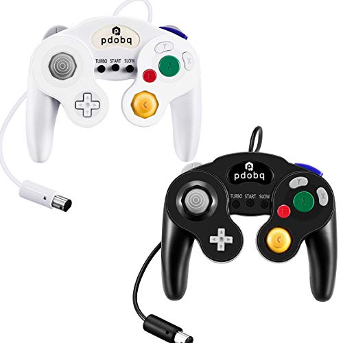 (Gamecube Controller, Switch Gamecube Controller for WII/PC/WII U/Switch, 2 Pack Classic Wired Gamecube Gamepad. No Lag and No Driver Need with Turbo Feature(Black and White))