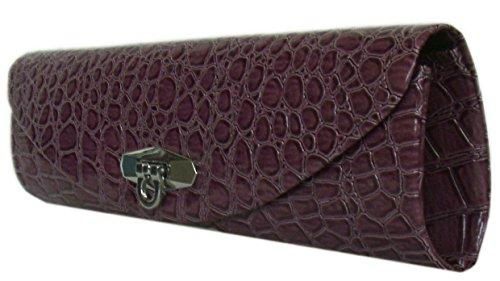 Damen Handtasche Clutch Partytasche Unterarmtasche Evening Bag Tasche mit Krokopräg,Lila 28x9 cm