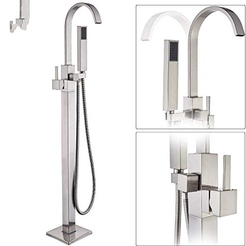 UYKIKUI Waterfall Spout Floor-Standing Bathtub Faucet - with Hand Shower Brushed Nickel Free Standing Bathtub Faucet Accessories (Floor Standing Spout)