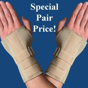 (PAIR of Thermoskin Carpal Tunnel Braces with Dorsal Stay, Beige , Left & Right Medium)