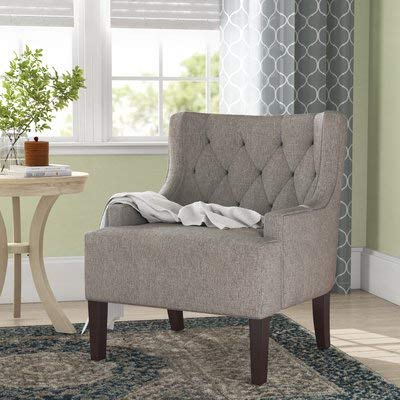 Super Amazon Com Linen Accent Chair With Round Arms Tufted Short Links Chair Design For Home Short Linksinfo