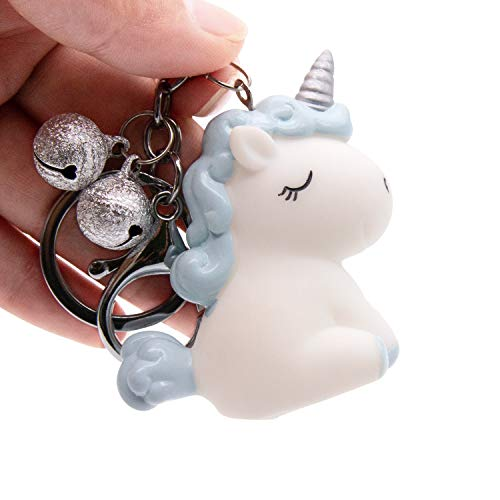 VSTON Unicorn Keychain Resin Crafts Cute Creative Cartoon Couple Bell Key Pendant Gift Car Bag -