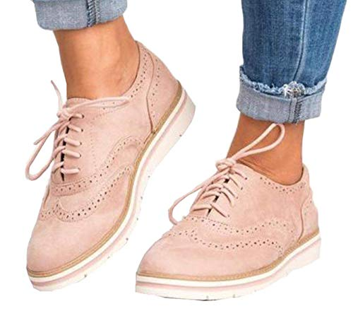 (Susanny Women's Wigtips Oxfords Platform Lace Up Brogues Slip on Perforated Spring Shoes Pink 10 B (M) US)