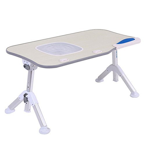Omooly Adjustable Laptop Bed Tray Table, Portable Stable Standing Table with Foldable Triangular Legs, Notebook Stand Reading, Lap Desk Table for Sofa Couch Floor (Standard,gray+with fan) by Omooly (Image #1)