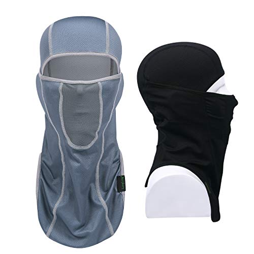 LONGLONG Balaclava - Sun Protection Mask Windproof, Dust & Breathable Summer Full Face Cover for Cycling, Hiking, Motorcycle (Black+Gray)