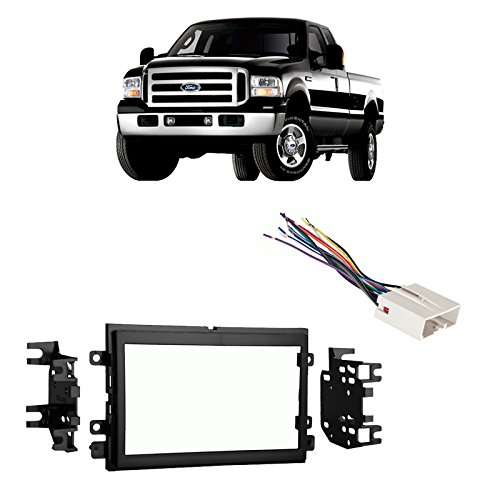 Compatible with Ford F-250/350/450/550 2005-2007 Double DIN Harness Radio Dash Kit by Harmony Audio