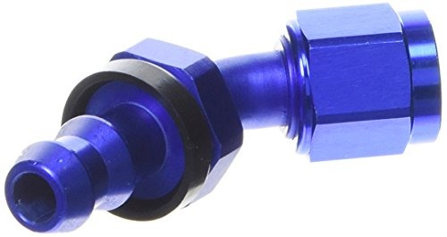 Russell 624080 Twist-Lok Red/Blue Anodized Aluminum -6AN 45-Degree Hose End by Russell (Image #1)