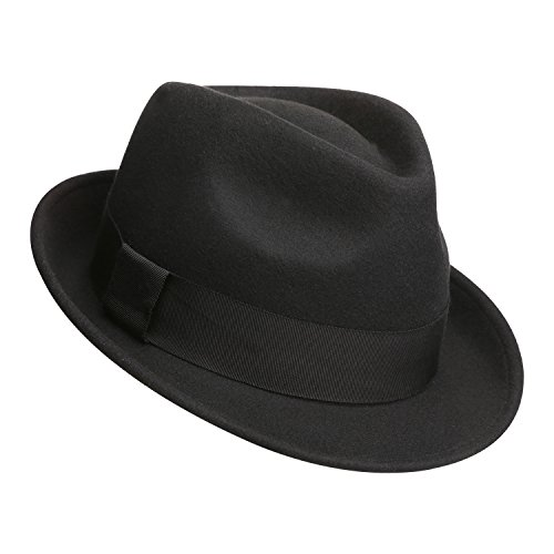 Sedancasesa Mens Felt Fedora Hat Unisex Classic Manhattan Indiana Jones Hats (L, A:Black)