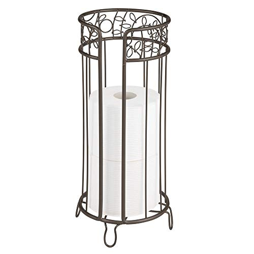mDesign Decorative Free Standing Toilet Paper Holder Stand with Storage for 3 Rolls of Toilet Tissue - for Bathroom/Powder Room - Holds Mega Rolls - Durable Metal Wire Design - - Holder Paper Toilet Ldr