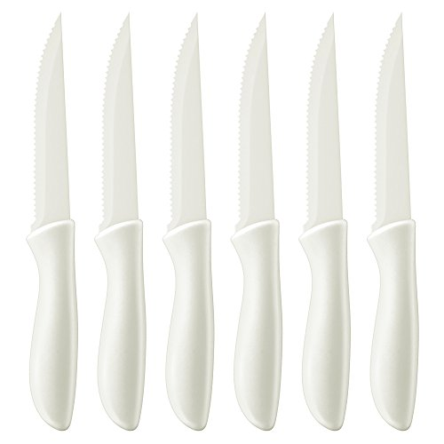 Collection Advantage - Cuisinart C55-6PCSW Advantage Color Collection 6-Piece Ceramic Coated Steak Knife Set, White