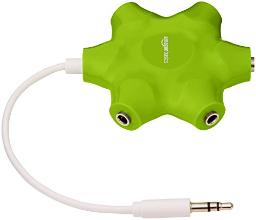 AmazonBasics 5-Way Multi Headphone Splitter, Lime Green