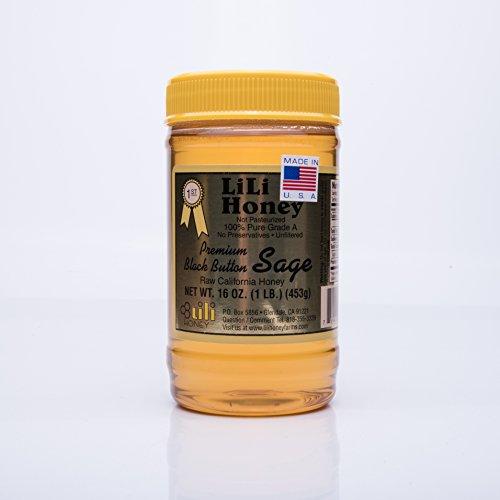 Wild Sage Honey - California Raw Premium Black Button Sage Honey 16 Ounces / 1 Lb Pure 100% Natural Gift Wrapped