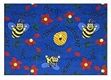 Blue Bee Attitudes - 2'x3' Custom Stainmaster Premium Nylon Carpet Area Rug ~ Bound Finished Edges