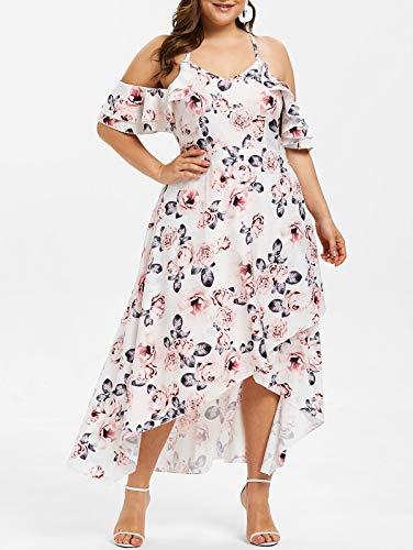Missroo Floral Print Plus Size Ruffle Trim Asymmetrical Dress White
