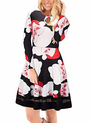 lunga da Ruiyige donne Xmas manica delle di Vestito vestito floreale della 8 stampa di Nero Natale del masticare da Tipo pxdfw8