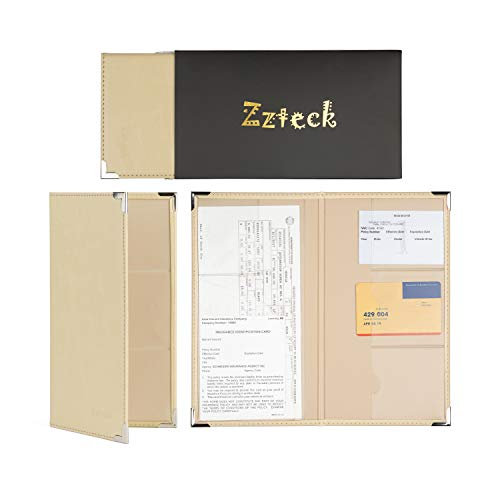 Zzteck Car Registration Card Holder and Insurance - for Auto Truck Glove Box Console Documents Organizer Premium PU IvoryLeather Wallet Case