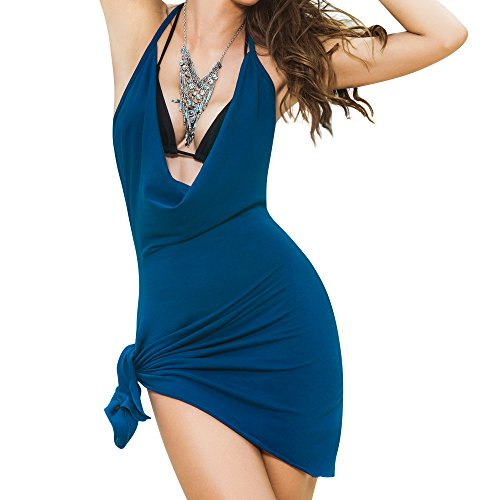 Mapalé by Espiral Women's Mapale by Espiral Deep Plunging Sexy Cover Up Halter Mini Dress, Blue, Medium