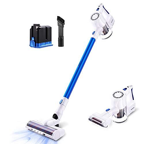 SIMPFREE Cordless Stick Vacuum Cleaner, 22KPa Powerful Suction Lightweight Handheld Cordless Vacuum with Digital Motor Duo Ion Battery White