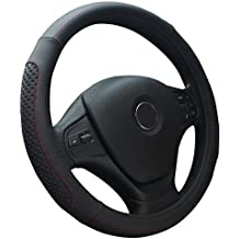 Best-Shops Black Steering Wheel Covers Leather Great Grip and Comfortable Anti Slip 15 inch Nice tight fit