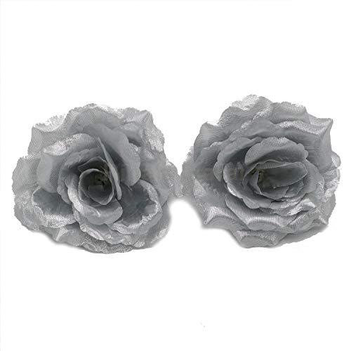 Silk Flowers Wholesale 100 Artificial Silk Rose Heads Bulk Flowers 10cm For Flower Wall Kissing Balls Wedding Supplies (Silver) (Silver Silk Flowers For Wedding)
