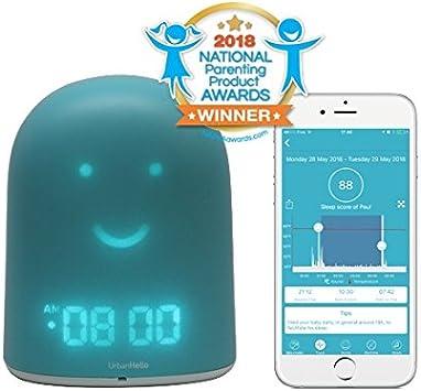 UrbanHello REMI - Réveil Enfant Jour Nuit éducatif et Suivi du Sommeil - Babyphone Audio avec alertes de Bruit 5-en-1 - Veilleuse - Enceinte de Musique - en Bleu