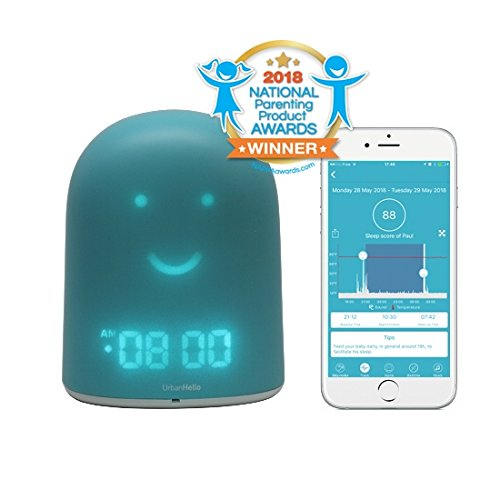 UrbanHello REMI - 5-in-1 Baby and Children Sleep Tracker - Time-to-Rise Face - Night Light & Sound Machine - Bluetooth speaker - Secure Two-Way Communication Audio Baby Monitor - Blue Color