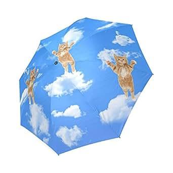 Funny Cute Cats in the Sky Custom Umbrella Compact Folding Travel Umbrella