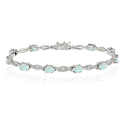 Opal Sterling Silver Tennis Bracelet - GemStar USA Sterling Silver Simulated White Opal and White Topaz Oval-Cut Swirl Tennis Bracelet