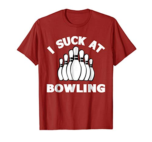 Mens I Suck at Bowling Funny T-Shirts Bowling Outfits Items Shirt XL Cranberry