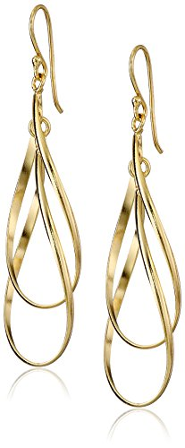 Gold Plated Sterling Silver Double Elongated Oval Twist French Wire Drop Earrings
