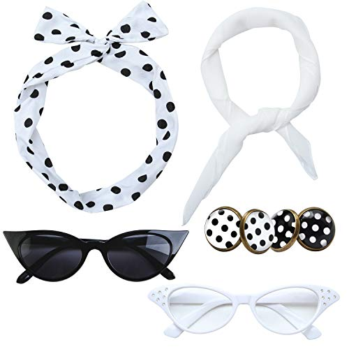 Aneco 6 Pack 50s Set Chiffon Scarf Cat Eye Glasses Bandana Tie Headband Earrings White