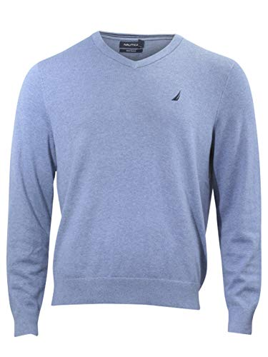 Nautica Men's Long Sleeve Solid Classic V-Neck Sweater, deep Anchor Heather Large