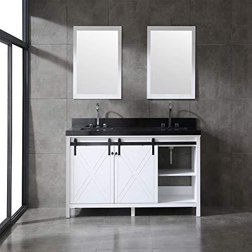 - Eviva EVVN529-72WH Dallas 72 in. White Absolute Black Granite Countertop Bathroom vanity