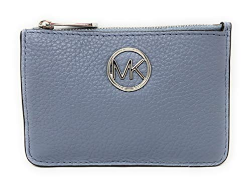 Michael Kors Fulton Small Top Zip Coin Pouch ID Card Case Wallet in Pale Blue (Card Case Coin Purse)