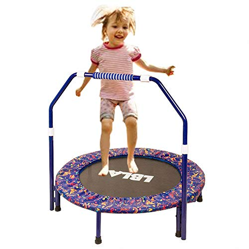 Ealing Kids Trampoline with Adjustable Handrail and Safety Padded Cover, Round Seaside Adventure Trampoline Mini Bouncer Mini Foldable Bungee Rebounder Jumping Mat