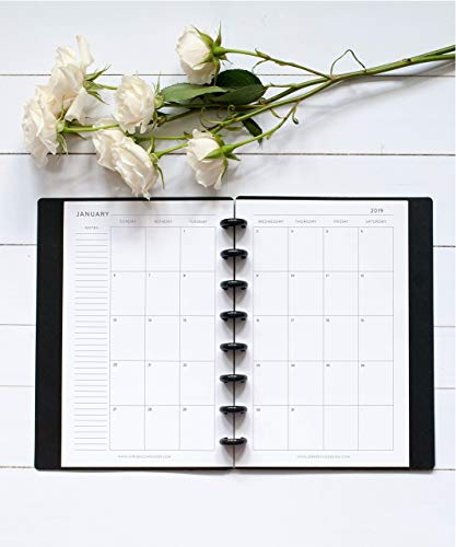 2019 Monthly Calendar for Disc-Bound Planners, Fits 8-Disc Circa Junior, Arc, TUL, Half Letter Size 5.5