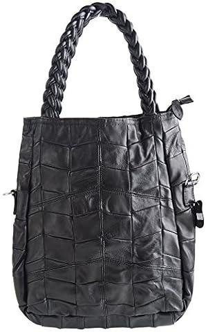 Funnie Womens Soft Leather Shoulder Bags Tote Handbags - Convertiable Satchel 2 In 1 2015 Designer - Vintage Handmade Plait Handles - Lambskin Leather Tote Bag