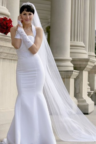 Bridal Veil Ivory 1 Tier Cathedral Length Edge With Beads And Crystals by Velvet Bridal (Image #7)