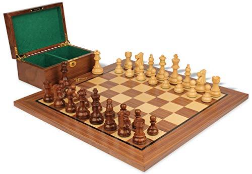 - French Lardy Staunton Chess Set Acacia & Boxwood Pieces with Walnut Board & Box - 3.75