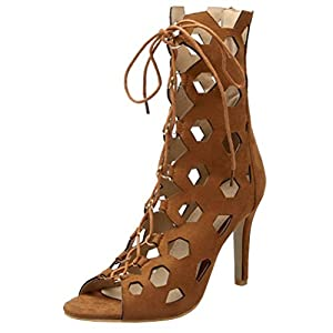 Artfaerie Womens High Heels Lace up Cut Out Pumps Peep Toe Summer Ankle Boots Evening Party Shoes