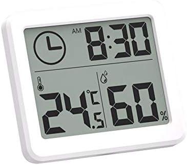 Winbang Termohigrómetro Digital, termómetro Digital para Interiores Higrómetro LCD C/F Temperatura Humedad Monitor Medidor Reloj Despertador -10 a 70 ...