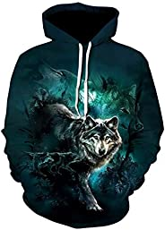 Men's Plus Size Sports Long Sleeve Loose Hoodie - 3D Wolf, Print Hooded Green 4XL / Fall/Wi