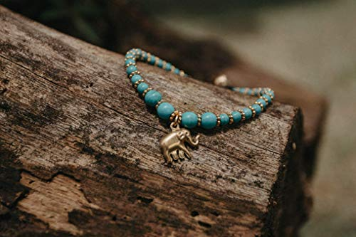 Changnoi Turqouise Charm Bracelet with Brass Elephant, Bohemian Style Bracelet, Handcrafted Bracelet for Women