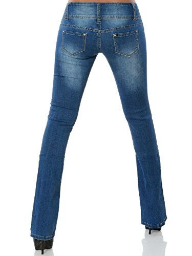 Vaqueros Boot Azul Cut Pantalones Mujer para Básico Daleus dZwz6qAd