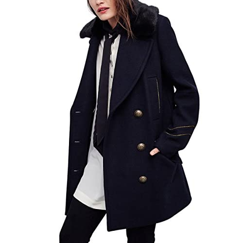 CA Mode Women Wool Blend Double Breasted Jacket Military Coat