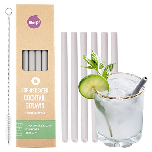 Slurp Straw 6 Pack & Cleaning Brush, 5.25 inch Short Reusable Silicone Drinking Straws for Cocktails, Coffee, Small Glasses and Cups - Food Grade Silicone - Silver