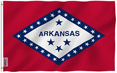 Feet Arkansas State Polyester Flag - Vivid Color and UV Fade Resistant - Canvas Header and Double Stitched - Arkansas AR State Flags with Brass Grommets 3 X 5 Ft (Arkansas Ar State Flag)