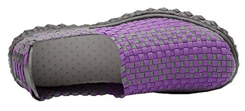 Santimon Womens Casual Flats Geweven Comfortabele Sport Wandelschoenen Slip Op Sneaker Paars